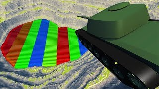 BeamNG drive - Leap Of Death Car Jumps & Falls Into Colored Rainbow
