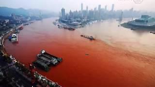 Yangtze River Turns Blood Red in Chongqing, China