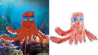 Детские Рисунки в Реальности #4  Детям про Животных Recreate Kids Monster Doodles Lion boy