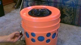 "Homemade Evap. Air Cooler - The ""5 Gallon Bucket"" Swamp Cooler! DIY - can be solar powered!"