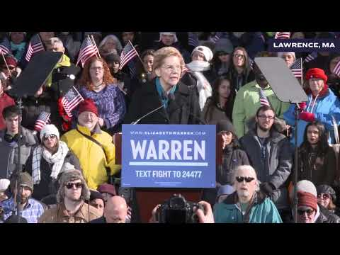 Video thumbnail for Elizabeth gives her big 2020 announcement speech at the textile mills in Lawrence, Massachusetts on February 9, 2019.
