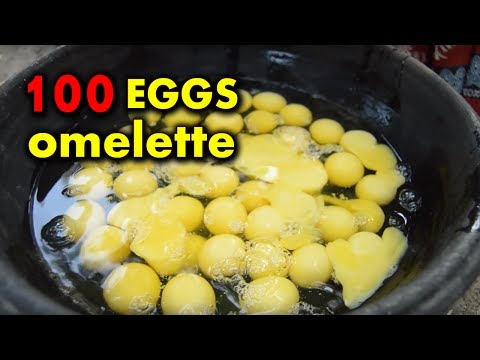 100 Eggs Biggest Omelet Prepared By My Grand Mother In My Village || Crazy Foods||