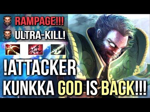 Attacker BEST Kunkka is Back! Epic Rampage 15 Min Godlike Crazy Armlet Toggle Gameplay 7.09 Dota 2