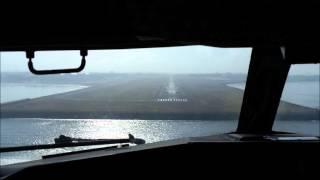Cockpit takeoff and landing scene at Denpasar Bali International Airport onboard Sriwijara Airlines