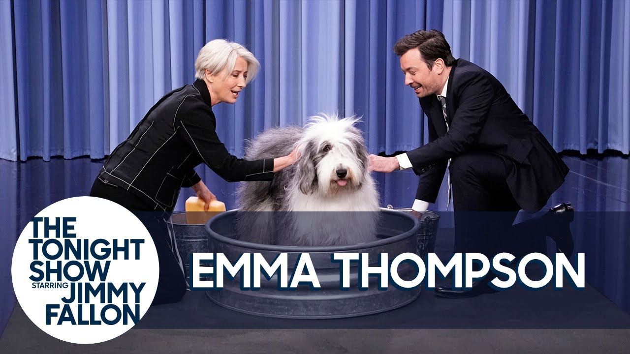 """Emma Thompson and Jimmy Wash a Sheepdog and """"It's F-ing Glorious"""" thumbnail"""