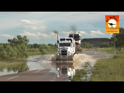 Extreme Trucker #2 - HUGE Road trains trucks crossing flooded river in the Australian outback