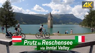 Driving from Prutz Austria to Reschensee Italy with its Submerged Church Tower