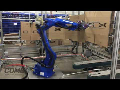 Formadora de cajas con Robot Yaskawa RCE para formar 5 tamaños grandes de cajas.