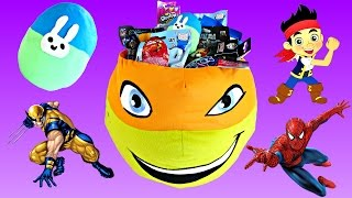 Giant TMNT Easter Egg Surprise Basket ★ Spiderman Disney Cars Adventure Time Play Doh Eggs Shopkins
