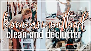 KONMARI METHOD CLEAN AND DECLUTTER WITH ME | COMPLETE CLOSET TRANSFORMATION | Konmari Declutter