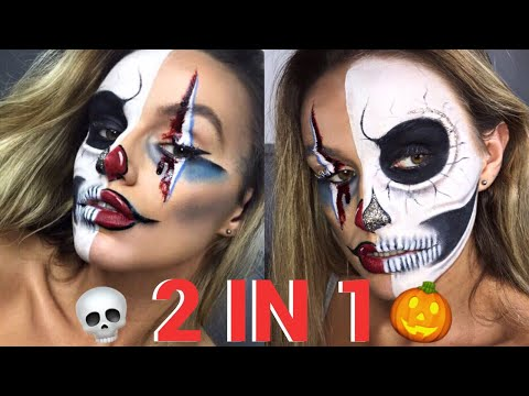 CLOWN AND SKULL HALLOWEEN MAKE-UP TUTORIAL | SYD AND ELL