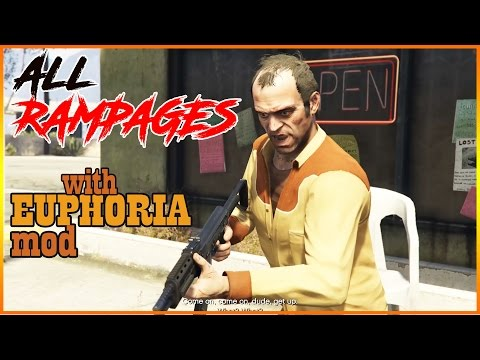 ALL Five TREVOR Rage RAMPAGES With EUPHORIA Ragdoll MOD(gta 5 Mods Gameplay)