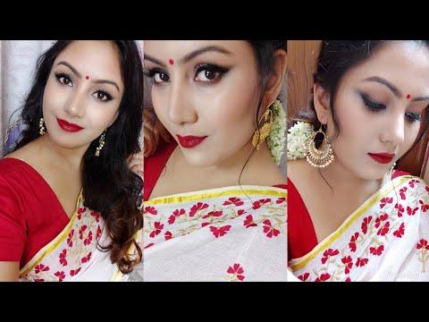 Durga Puja Makeup Look 2018 | Bengali Traditional Makeup Tutorial | Smokey Winged Eyeliner