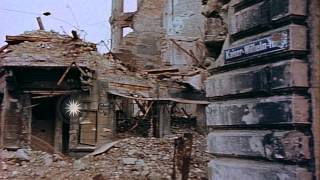 Bombed city of Cologne in Germany during World War II; view of Cologne Cathedral ...HD Stock Footage