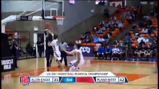 Plano West #1 Dennis Hogg gets the And 1 with the breakaway layup