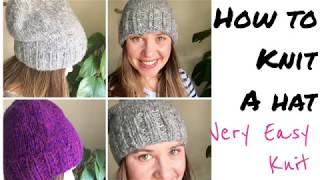 HOW TO KNIT A HAT/BEANIE (beginner knitting) | TeoMakes