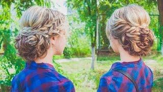 ПРИЧЕСКА. Пучок из кос. Hairstyles for medium hair with braids. LOZNITSA
