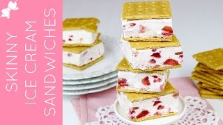 How To Make Skinny Strawberries & Cream Frozen Yogurt Ice Cream Sandwiches // Lindsay Ann Bakes