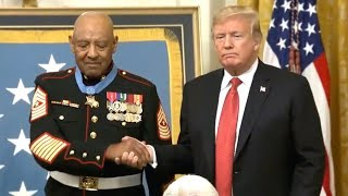 President Trump presents the Medal of Honor to Sergeant Major John L  Canley  October 17, 2018  Whit