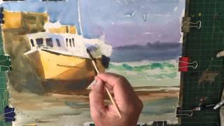 Watercolour Demo Fishing Boat Low Tide.