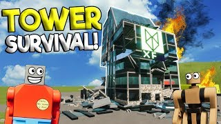 SURVIVING A BURNING LEGO TOWER! - Brick Rigs Gameplay - Lego Tower Survival Challenge