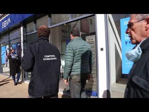 Implementan controles de medidas de seguridad en bancos de la ciudad