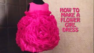 HOW TO MAKE A RUFFLE FLOWER GIRL DRESS /ORGANZA