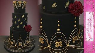 Gold & Black Wedding Cake - With Lambeth Type Piping.