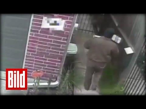 UPS-Bote pinkelt in Garten - Paket über Zaun (UPS driver box and pee)