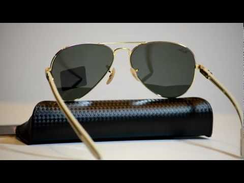 Authentic Ray Ban RB 8307 001 Aviator Carbon Fibre Collection Sunglasses  RB8307