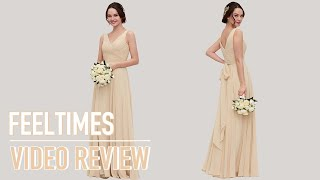 Bridesmaid Dress M18112B丨Classic And Vintage Inspired Long Chiffon Bridesmaid Dress - FeelTimes