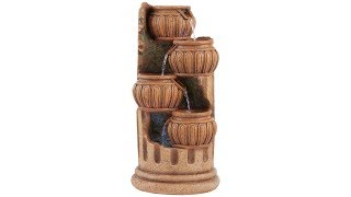 """Smithtown 28""""H Stone Four Roman Columns LED Outdoor Fountain"""