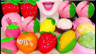 ASMR FRUIT CAKE PARTY *STRAWBERRY, PEACH, MANGOSTEEN, ICE CREAM 과일 화과자, 딸기, 복숭아, 귤 먹방 EATING SOUNDS