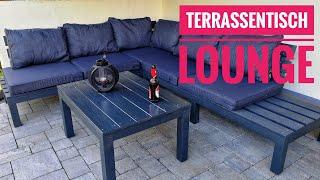 Holztisch für Terrassenlounge und Sägehilfe bauen