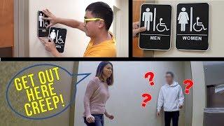 Switching Bathroom Signs Prank!