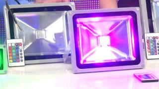 Luminea Wetterfester LED-Fluter im Metallgehäuse, 10 W, IP65, RGB