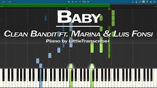 Clean Bandit - Baby (Piano Cover) ft. Marina & Luis Fonsi Synthesia Tutorial by LittleTranscriber