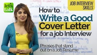 Job Interview Tips - How to write a 'Good Cover Letter' for a resume - Business English Course