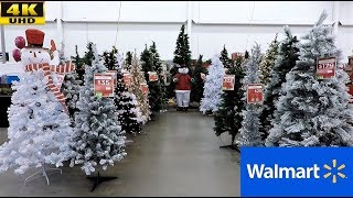 WALMART CHRISTMAS (COMPLETE SECTION) - CHRISTMAS TREES ORNAMENTS DECORATIONS SHOPPING (4K)