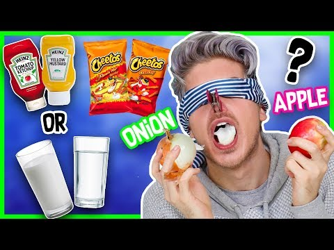 CAN YOU TASTE FOOD WITHOUT SMELL CHALLENGE!