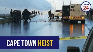 At least one cash-in-transit truck was robbed in Cape Town along Jakes Gerwel Drive, near Hanover Park, on Monday morning. Watch.  Subscribe to News24: https://www.youtube.com/user/News24Video