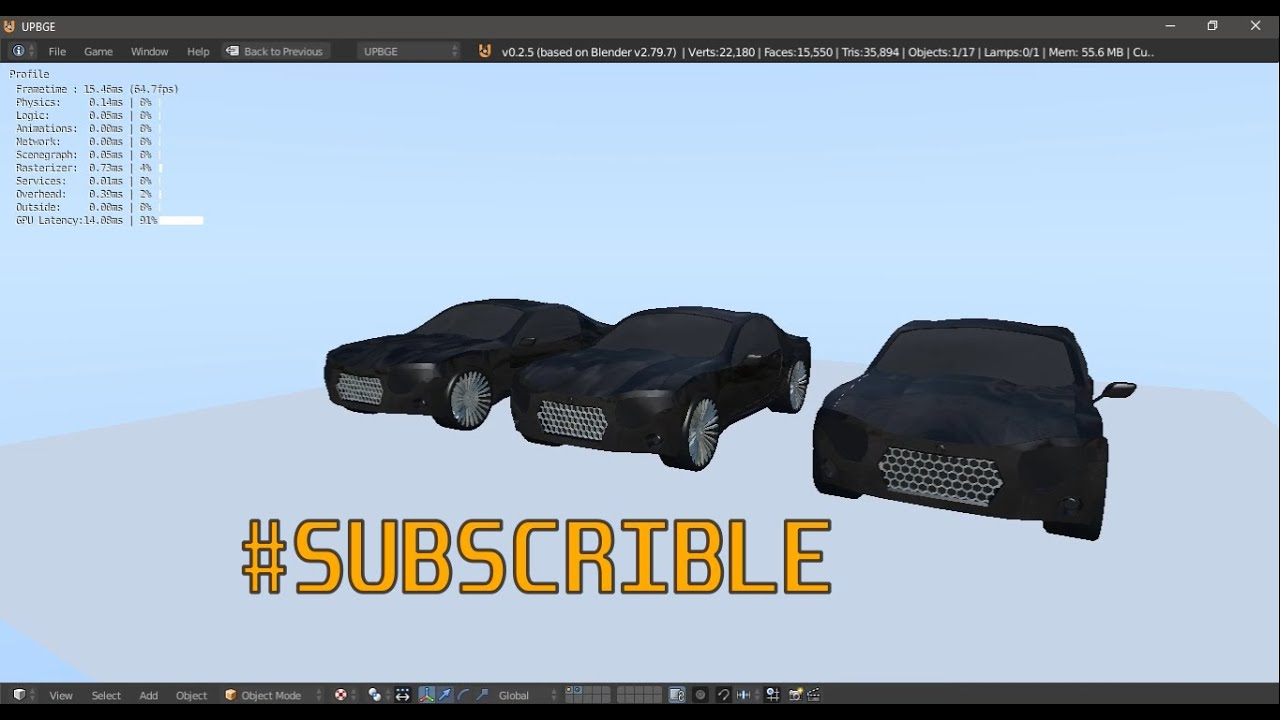 Game Engine - Vehicle Realistic Physics Component Tutorial.p1 - #UPBGE