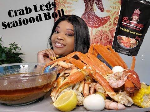 BLOVESLIFE SMACKALICIOUS Seafood boil Mukbang 먹방 (eating show) Snow crab legs ⚠️smacking, slurping