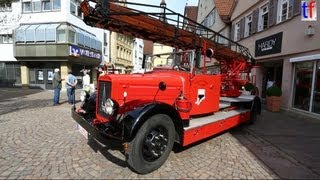 preview picture of video 'VERY OLD FIRE TRUCKS / Nostalgie in Rot - 9. Feuerwehroldtimerrundfahrt, Winnenden, 2013.'