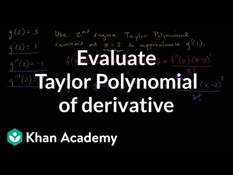 Worked example: Taylor polynomial of derivative function