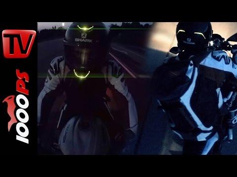 LED Helmet Shark SKWAL Testride in the Night