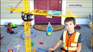 Mega Crane Kids Toy Unboxing - Jack Jack Playing with Construction Toys - Dump Truck