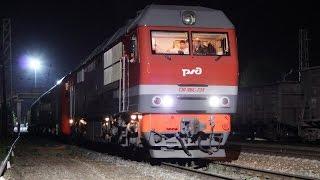 Отправка электропоезда ЭС2Г-001 со Щербинки в Белореченскую