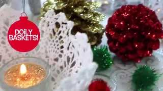 Christmas Doily Baskets