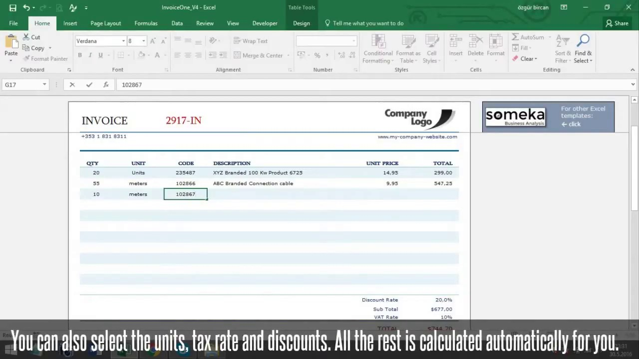 Invoice Template - Someka Excel Template Video